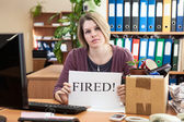 Dismissal woman in the workplace — Stock Photo