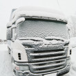 Snow-covered cab of the truck — Stock Photo #4630677
