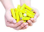Yellow penlight batteries — Stock Photo