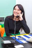 Businesswoman with telephone — Stock Photo