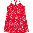 Small red polka dot dress for girls isolated on white — Stock Photo