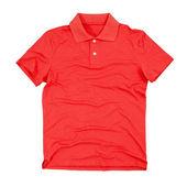 Boş polo t-shirt üzerinde beyaz izole fotoğrafı — Stok fotoğraf