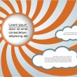 Sun and clouds background with place for your text. — Stock Vector