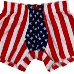 spodnie amerykańską flagę mężczyzna na białym tle na białym tle — Zdjęcie stockowe