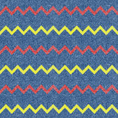 Zig-zag jeans background. Seamless pattern. Vector — Stok Vektör