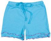 Elegant blue shorts isolated on white — Stock Photo