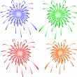 Brightly colorful vector fireworks. Vector — Stock Vector