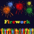 Abstract festive fireworks and hands background — Stock Vector
