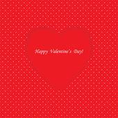 Cartão com forma de coração no fundo do polka dot — Vetor de Stock