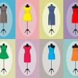 Stock Vector: Different vintage dresses on mannequin. Vector