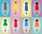 Different vintage dresses on a mannequin. Vector — Stock Vector