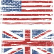 British and American grunge flags. Vector — Stock Vector #40953881