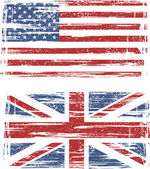 British and American grunge flags. Vector — Stock Vector