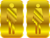 Man and Woman restroom golden signs. Vector — Stock Vector