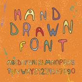 Numeri e lettere dell'alfabeto disegnate a mano. vector — Vettoriale Stock
