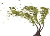 Grunge tree in the wind. Vector — Vector de stock