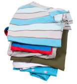 Family laundry pile isolated on white — Stock Photo