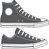 Set of high and low sneakers drawn. Vector — Stock Vector