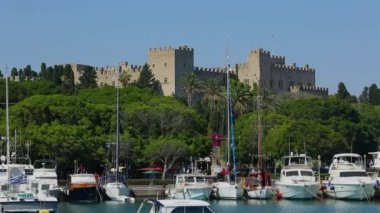 View of Rhodes old town castle from Mandraki