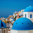 Blue domes, Santorini. - Stock Photo