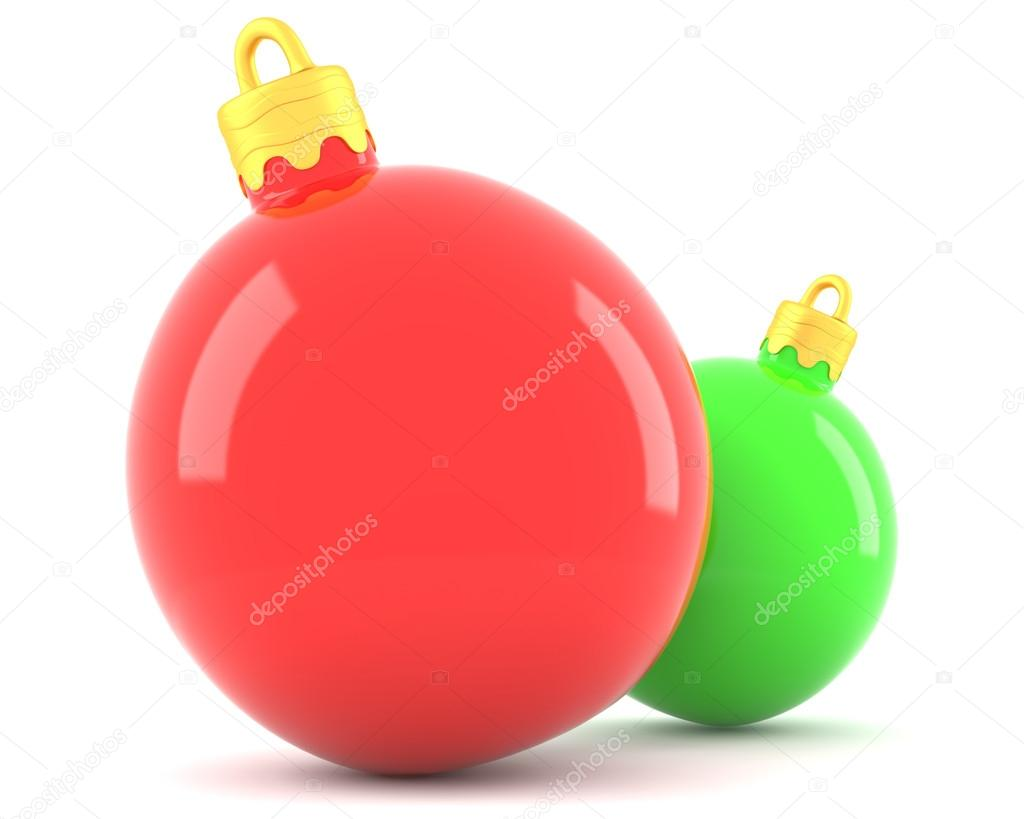 Red and green christmas baubles isolated on white background — Stock Photo #14879039