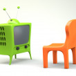 Cartoon-styled tv with chair — Stock Photo