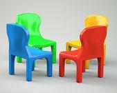 Dört renkli karikatür tarzı sandalyeler — Stok fotoğraf