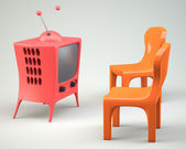Cartoon-styled tv with two chair — Stock Photo