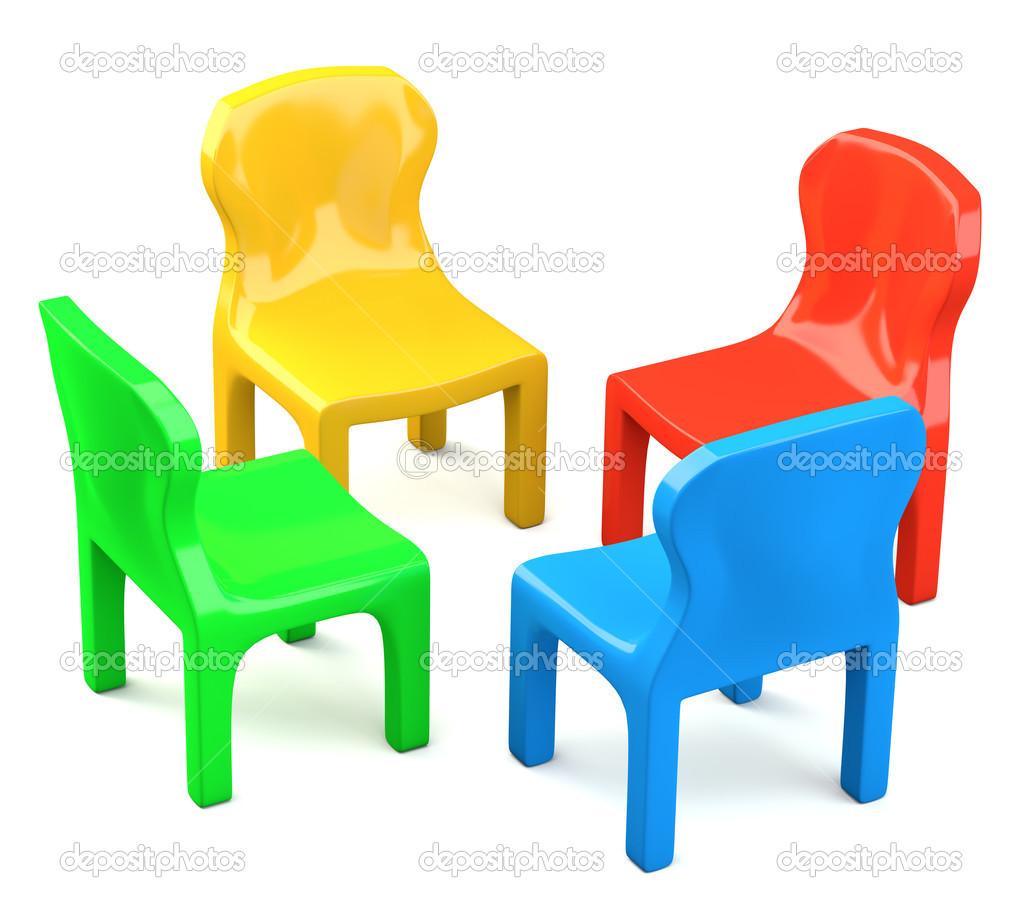 Cuatro sillas de estilo de dibujos animados de color for Imagenes de sillas