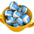 Stock Photo: Volleyballs in cup