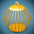 Golden bird cage — Stock Photo