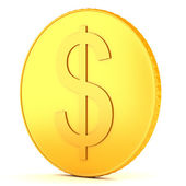 Dolar işareti olan altın sikke — Stok fotoğraf