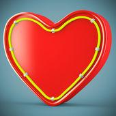 Heart with neon glow — Stock Photo