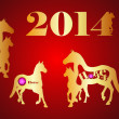 Gold horses 2014 — Stock Vector