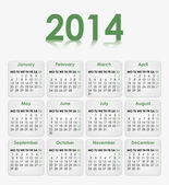 2014 Calendar with a green font — 图库矢量图片
