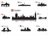 Detailed vector silhouettes of world cities — Stock Vector