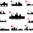 Detailed vector silhouettes of world cities — Vector de stock
