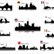 Stock Vector: Detailed vector silhouettes of world cities