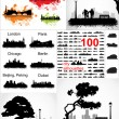 Collection of silhouettes of cities and urban landscapes — Stockvectorbeeld