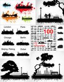 Collectie van silhouetten van steden en stedelijke landschappen — Stockvector