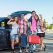 Four Friends Ready to Leave For Vacation — Stock Photo #12126414
