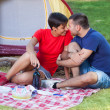 Stock Photo: Young Couple Flirting on Camping