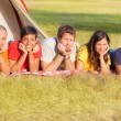 Young Laying on the Ground on Camping — Stock Photo