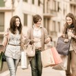 Three Beautiful Young Women with Shopping Bags — Stock Photo #12456832