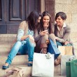 Group of Women Sending Message with Mobile Phone — Stockfoto