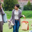 Young Women at Park after Shopping - 图库照片