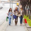 Three Beautiful Young Women doing Shopping - Стоковая фотография