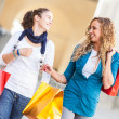 Two Young Women with Shopping Bags - Stock Photo