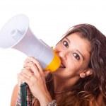 Young Woman Talking Through Megaphone — Stock Photo