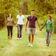 Stock Photo: Group of Teenagers Walking Holding Hands